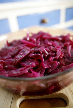 Baked red cabbage in cyder vinegar
